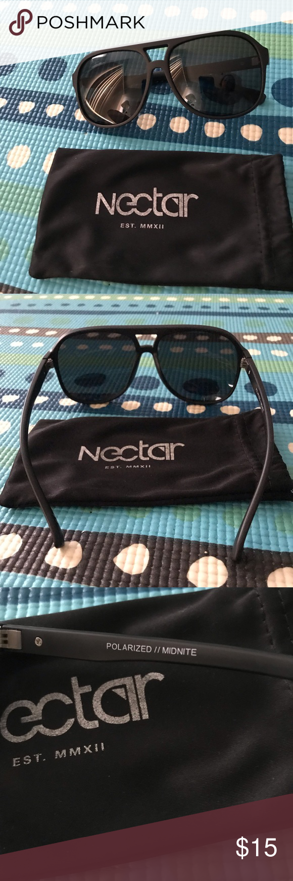 70d7ee2af7 Nectar Sunglasses Nectar Sunglasses 🕶 Polarized • Called Midnite • Never  used • Comes with cloth case nectar Accessories Sunglasses