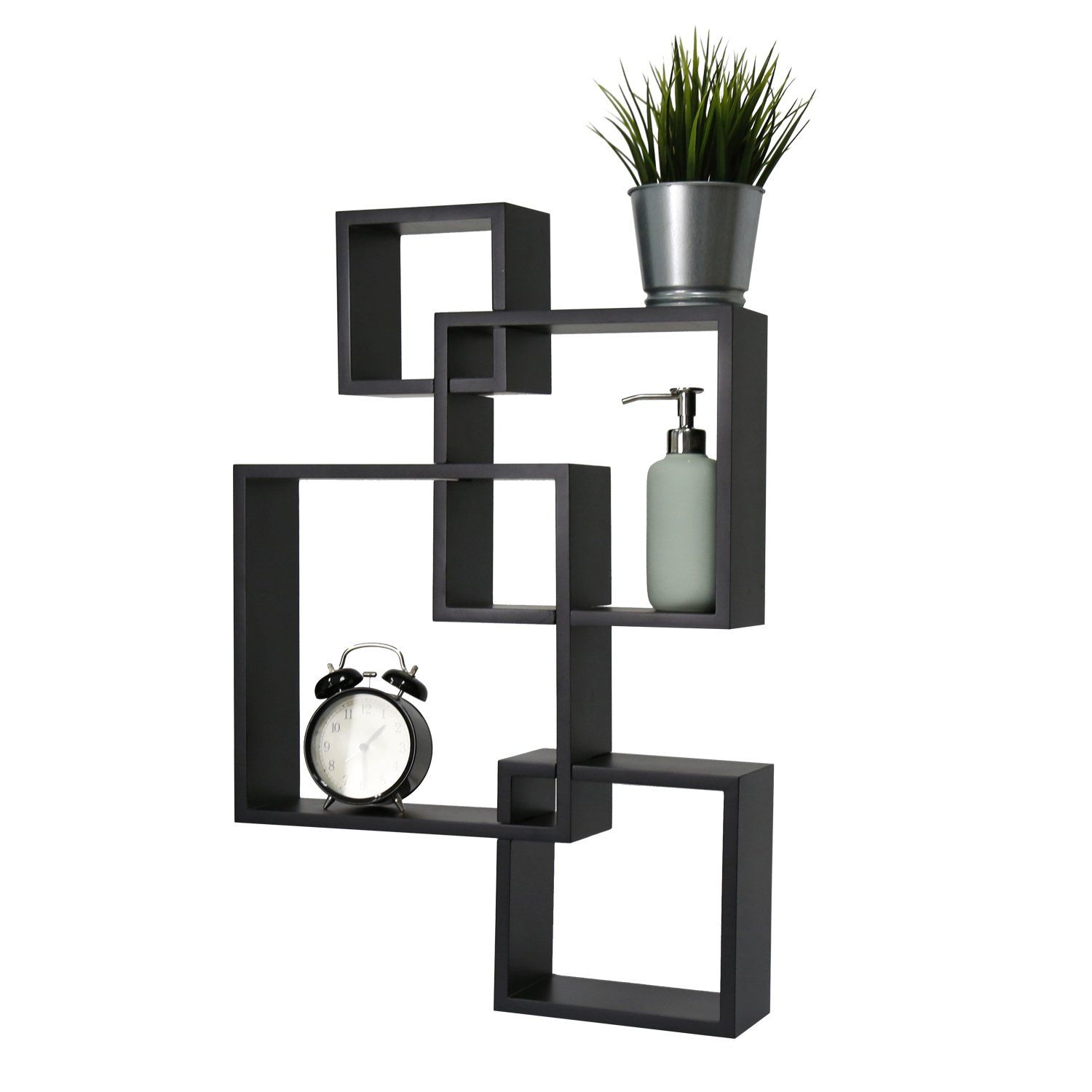Kinbor Black Intersecting Squares Floating Shelf Wall Mounted Home
