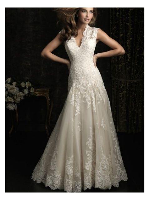 Glamorous V-neck A-line Lace Wedding Dress Features A Keyhole Back