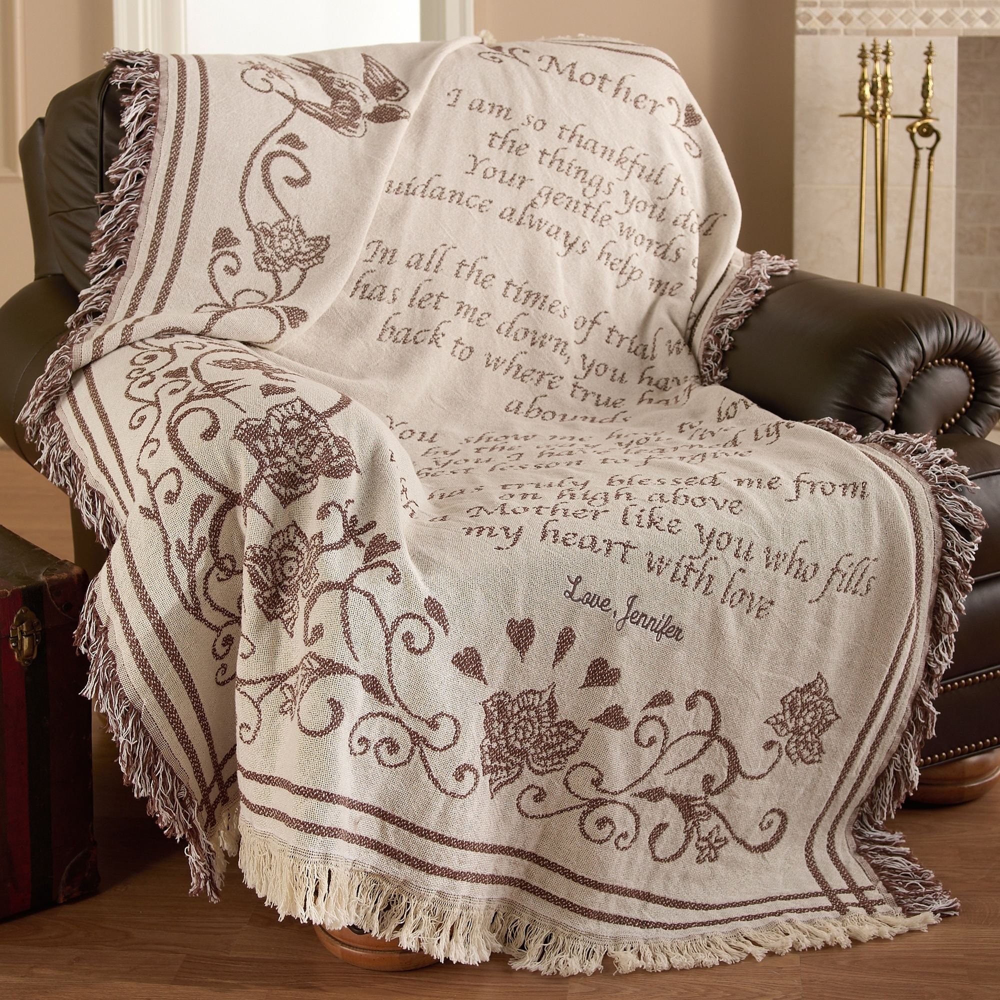 Gift From Bride To Mother: Personalized Mother's Woven Blanket