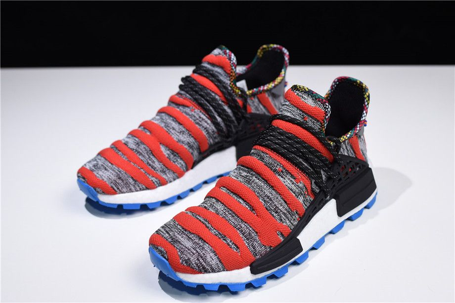 "1b7cb949b5d5e 2018 Pharrell x adidas NMD ""Afro Hu"" Red Grey Black Shoes Free Shipping"
