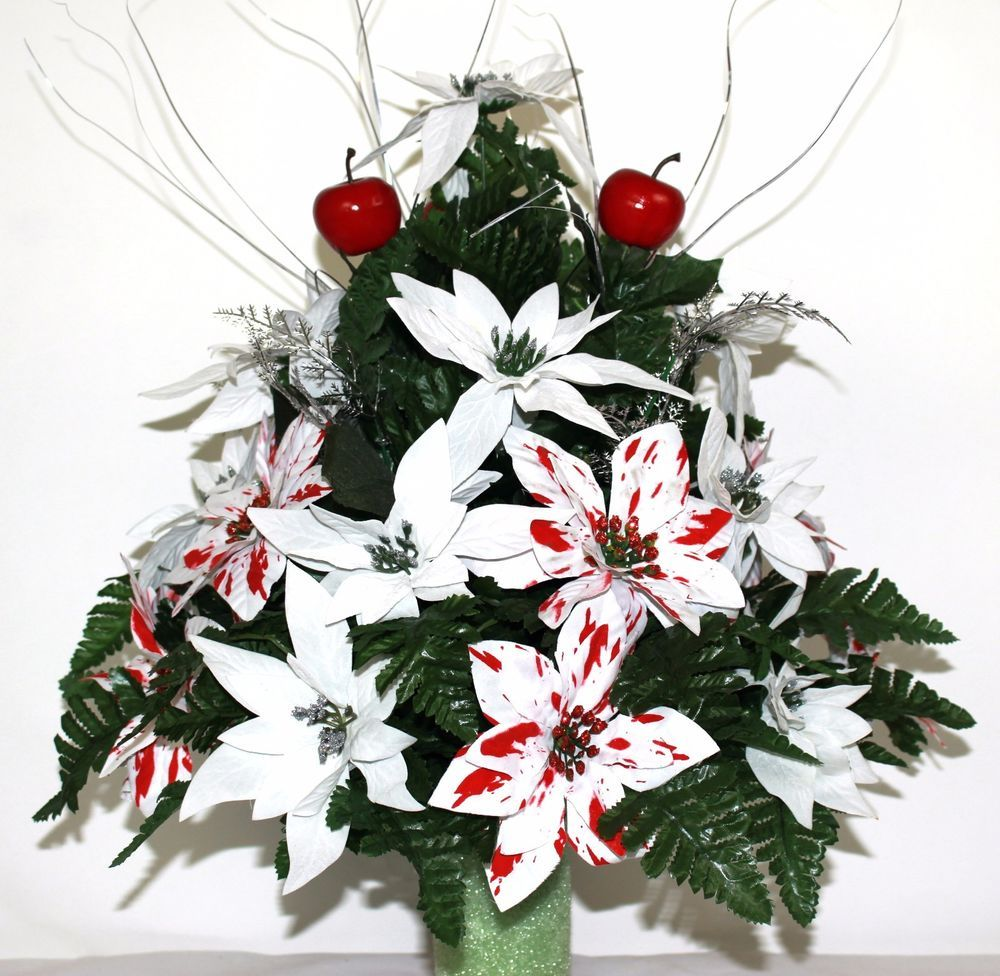 Beautiful Peppermint & White Poinsettia's Christmas