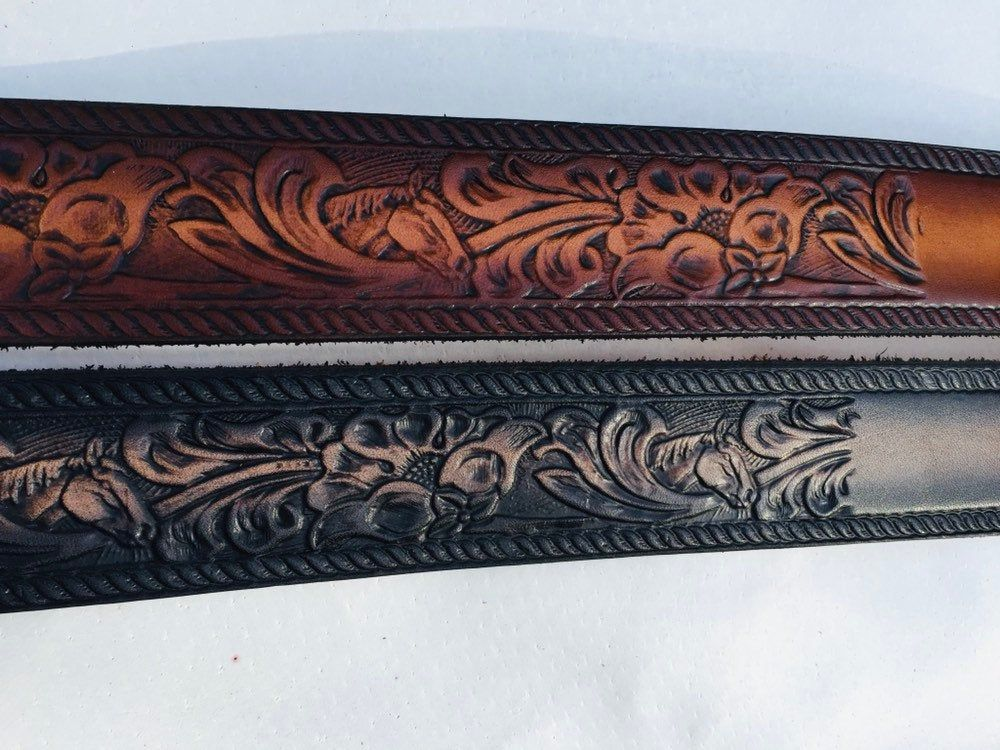 Personalized Leather Belt  Western Scroll  Horse Head  Floral  Free name  Free Shipping