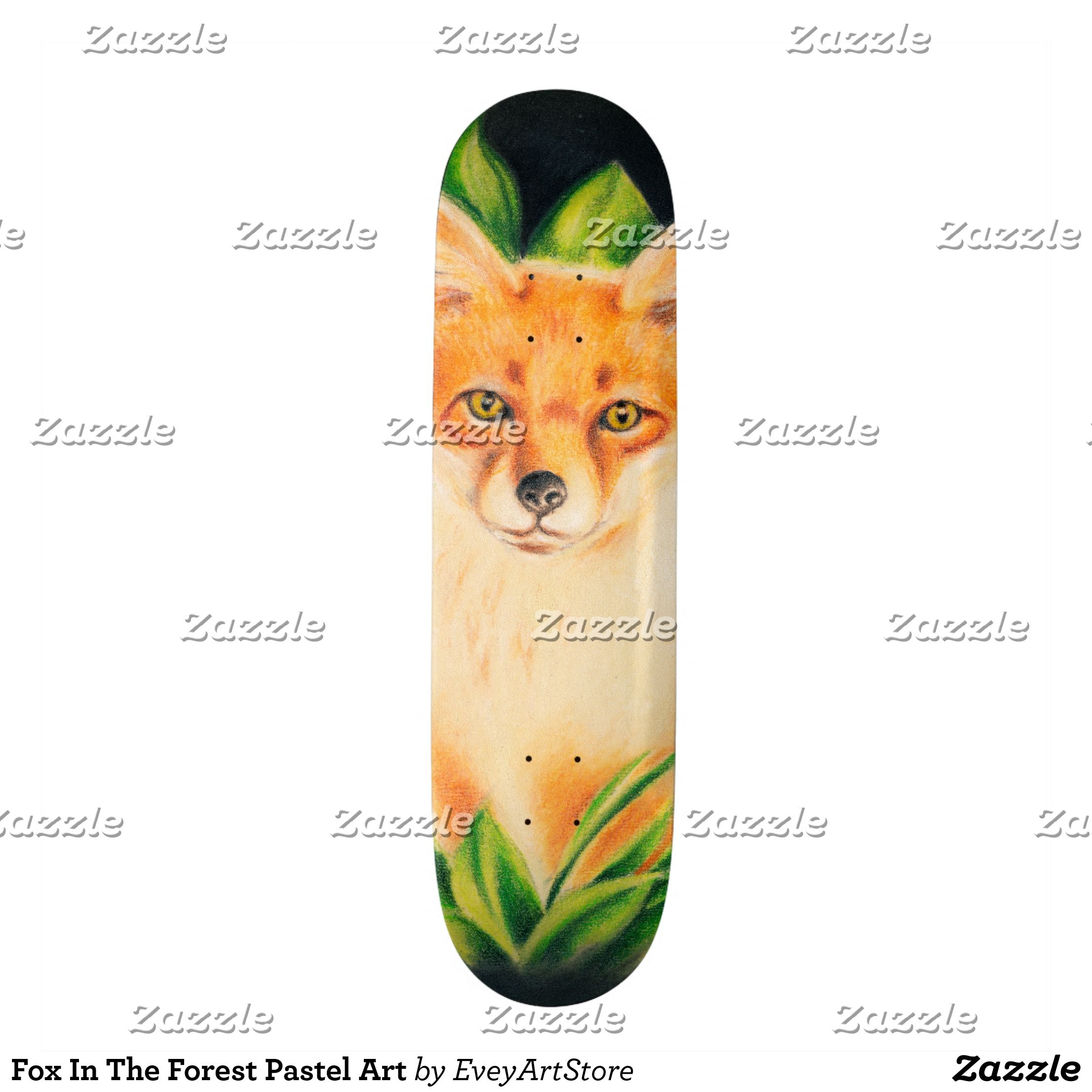 Fox In The Forest Pastel Art Skateboard Supreme Hard Rock Maple Deck Custom Boards By Talented Fashion Graphic Pastel Art Animal Drawings Cool Skateboards