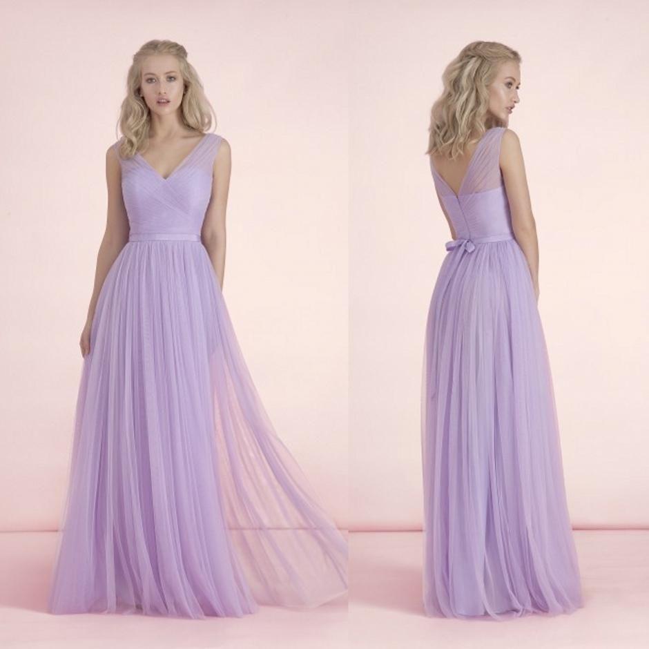 2015 Long Light Purple Bridesmaid Dresses V Neck Bow Knot Sash