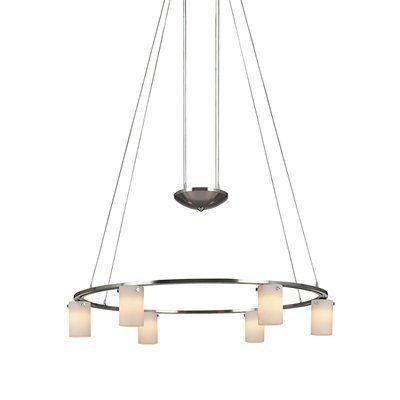 George Kovacs P8025 084 6 Light Counter Weight Chandelier Brushed