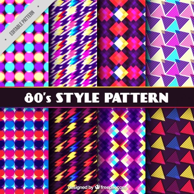 bright geometric eighties pattern collection free vector back