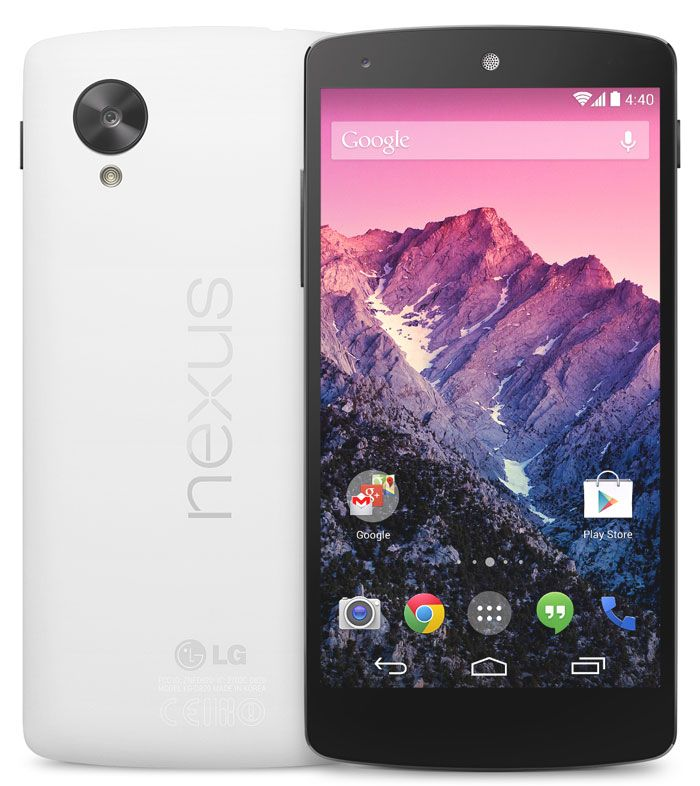 LG Nexus 5. with an HD IPS display, 8MP camera & Android 4.4.2 KitKat.  http://www.ispyprice.com/mobiles/2437-lg-nexus-5-price-list-india/