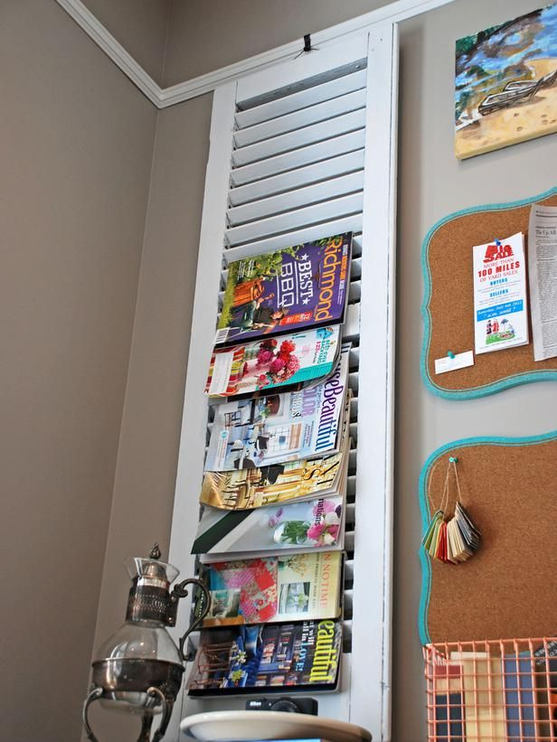 16 Clever Ways To Store Magazines And Books Http Www Diynetwork Com Decorating 16 Clever Ways To Store Magaz Magazine Storage Home Diy Shutters Repurposed