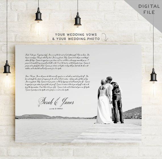 Unique Wedding Vows For Him: Printable Wedding Vows Art Photo Vow Art By