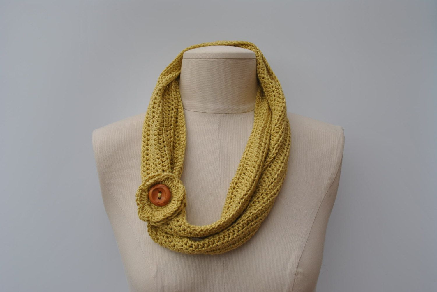 Lightweight crocheted scarf in pale olive by DaisyElizaDesigns on Etsy