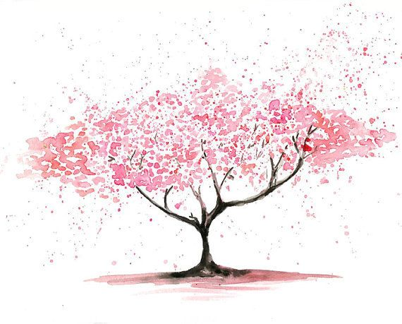 Cherry Tree Landscape Painting Watercolor Archival Print From My