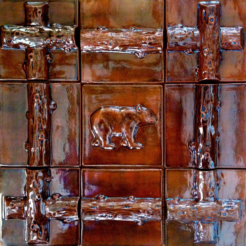 Nine Handmade Nature Themed Relief Ceramic Tiles For Kitchen