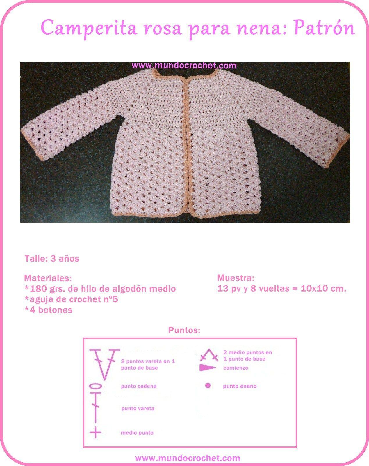 Saquito o Camperita a crochet para niña | crochet ...βελονάκι