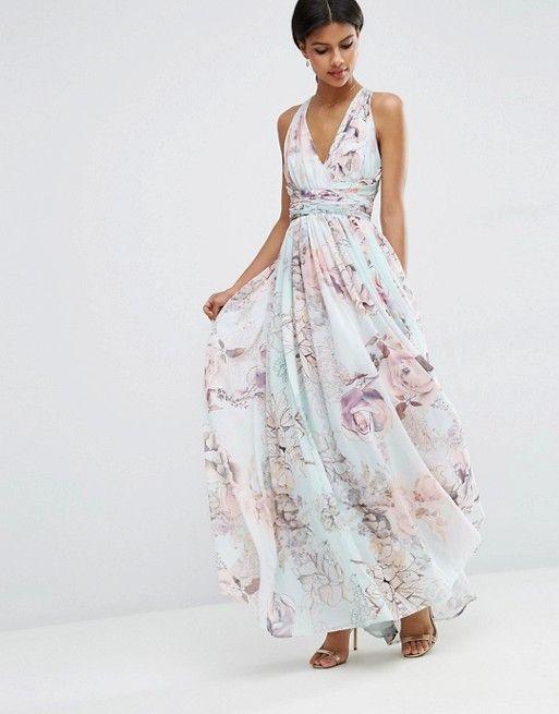 ASOS | ASOS WEDDING Hollywood Maxi Dress in Soft Rose Print ...