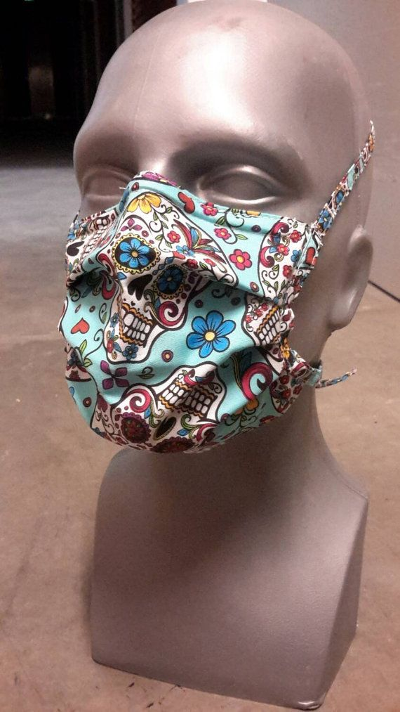Tie On Surgical Face Mask Winter Cotton Dia De Los By Karolbdotcom