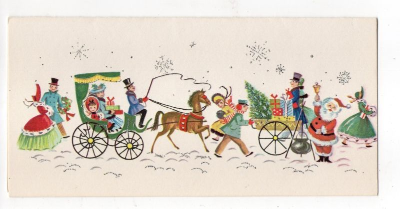 Vtg Hawthorne Christmas Greeting Card Glitter Village Scene Santa People Street