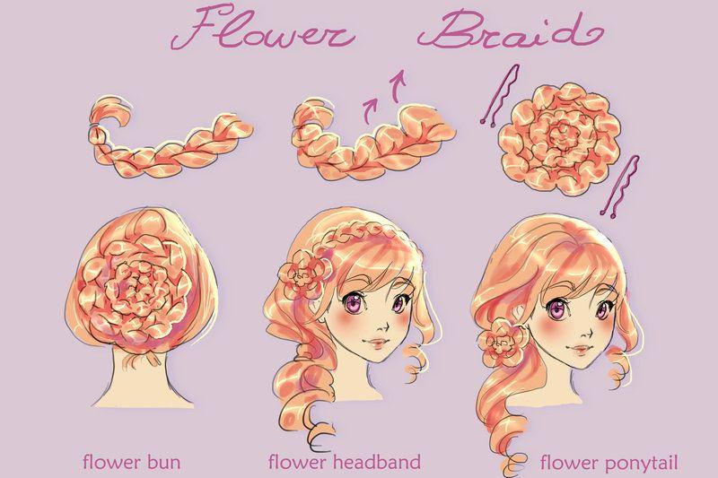 Flower Braid Reference Flower Braids Anime Braids Hair Art