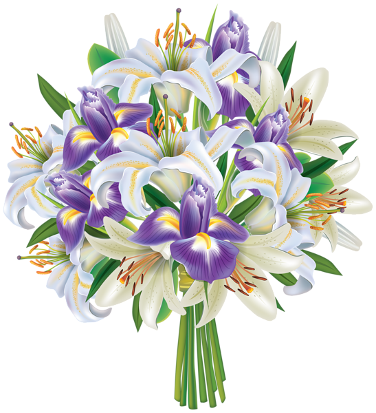 Purple Iris Flowers and Lilies Bouquet PNG Clipart Image ...