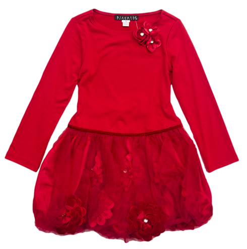 Red Bubble Party Dress for Girls