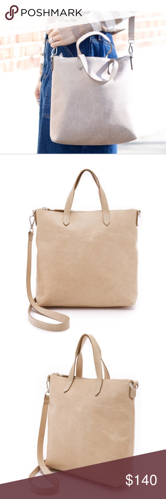 73702fc4c Madewell | Zip Top Leather Crossbody. NWT. Color: Neutral Tan. RARE COLOR