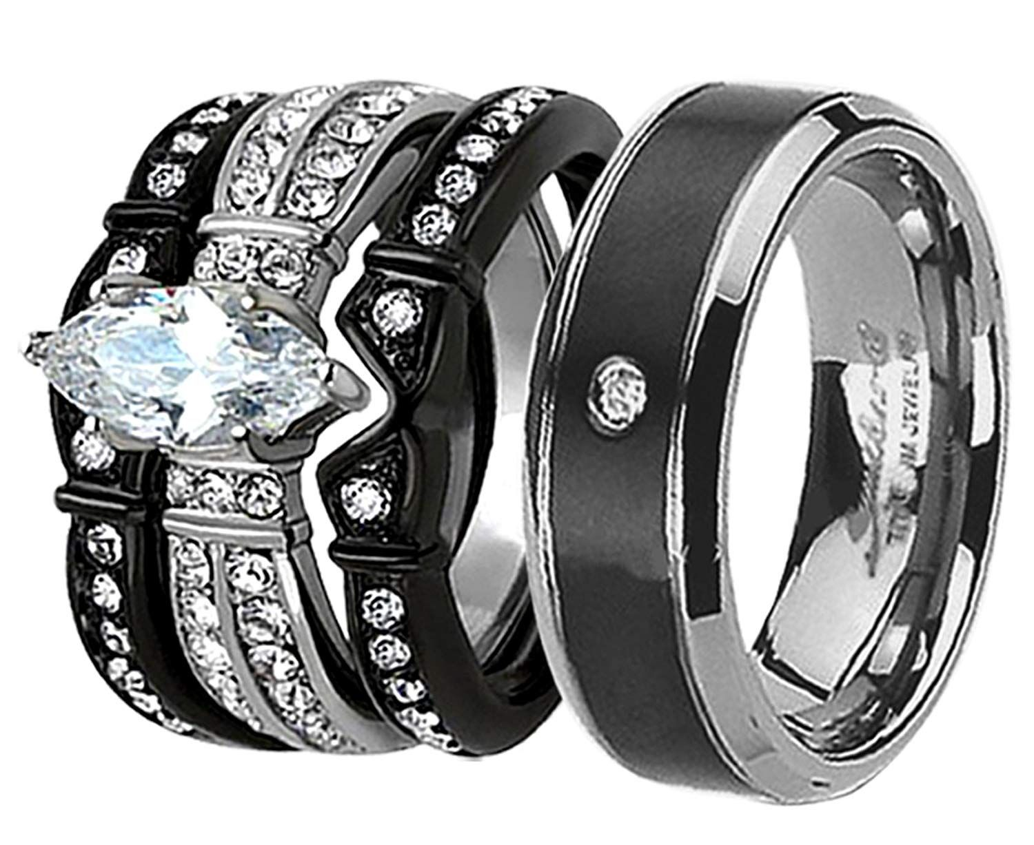 90bc1e5b90 Devuggo MABELLA His Hers Wedding Ring Sets Couples Matching Rings Black  Women's Stainless Steel Cubic Zirconia Wedding Engagement Ring Bridal Sets  and Men's ...