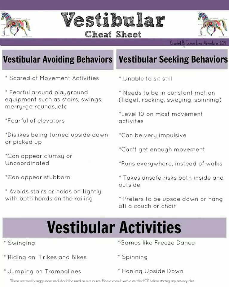 Vestibular Activities Cheat Sheet AU Terapia De