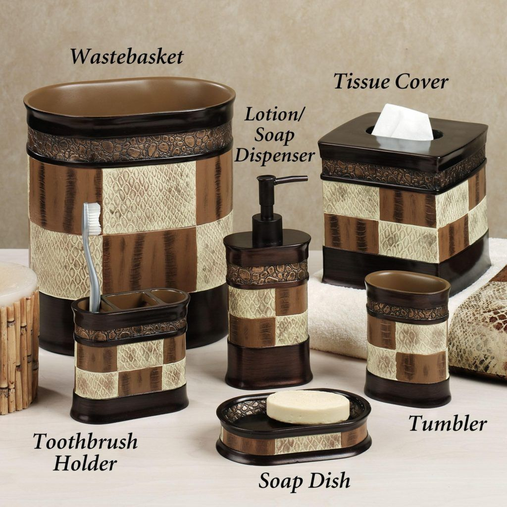 brown and cream bathroom accessories | bathroom accessories