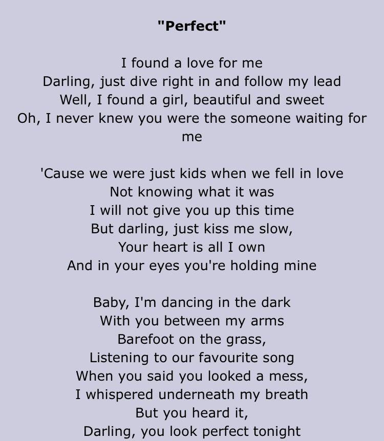 perfect lyrics deutsch