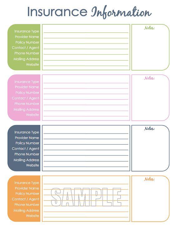 insurance information organizing printable editable household binder household management insta