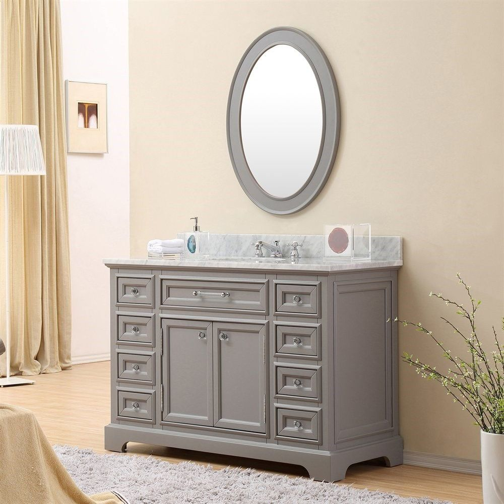 Pics On Water Creation Derby GB Derby Single Sink Bathroom Vanity with Matching Framed Mirror Vanity Top Included