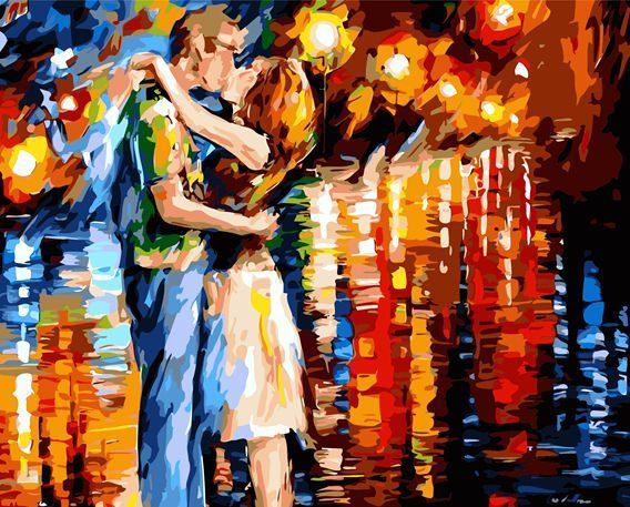 """New DIY Paint By Number 16""""*20"""" kit Forever Kiss Painting On Canvas"""