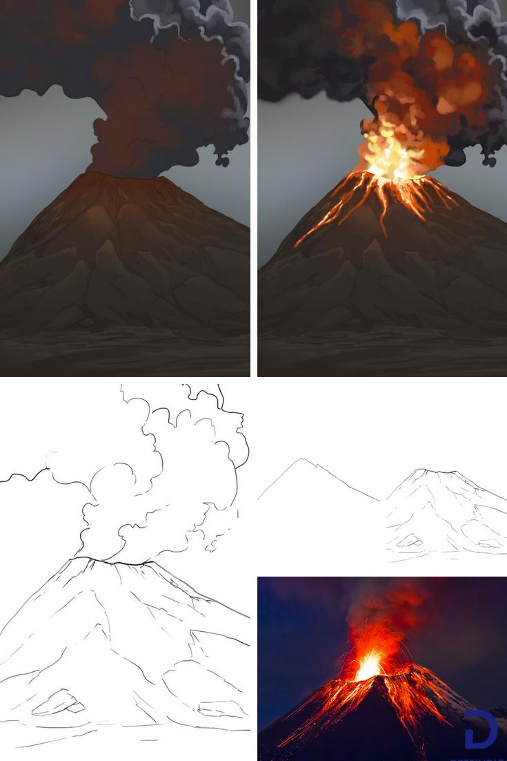 Volcan Piton De La Fournaise Dessin - Reunion Tourism