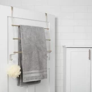 Expandable Over The Door Towel Rack Hook Silver Threshold In 2020 Towel Rack Over Door Towel Rack Towel