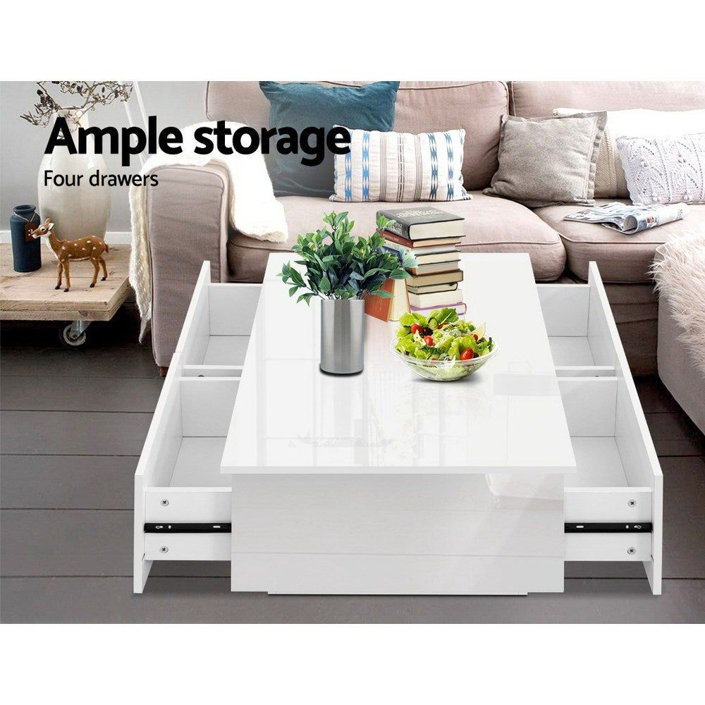 Artiss Modern Coffee Table 4 Storage Drawers High Gloss Wooden Furniture White In 2021 Storage Furniture Living Room Coffee Table Modern Coffee Tables [ 1000 x 1000 Pixel ]