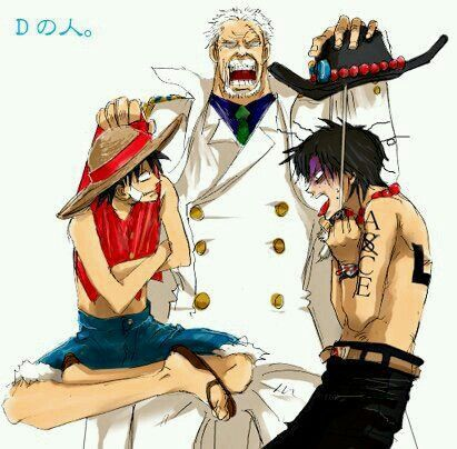 Luffy, Garp, and Ace | One Piece | One piece fanart, One piece ace