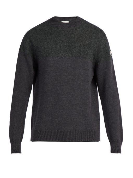 Crew-Neck Gauge-Knit Wool Sweater, Dark Grey | Moncler | Pinterest | Moncler