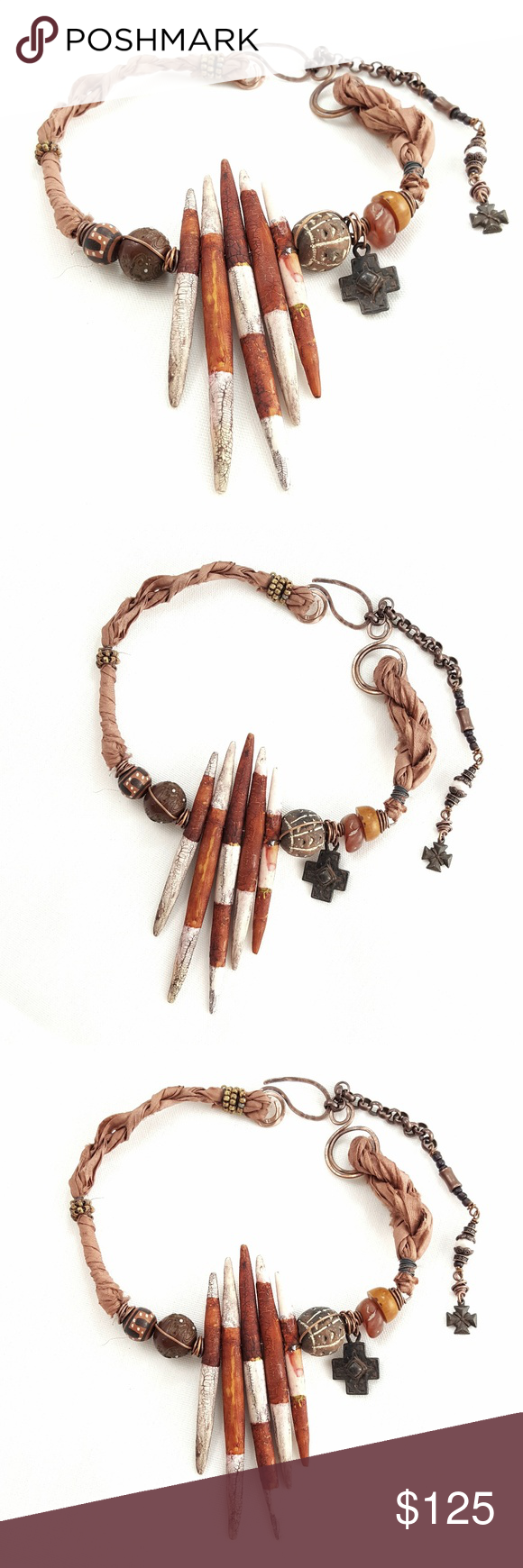 Artisan Polymer Fossilized Rust Spikes Necklace Boutique | Metal ...