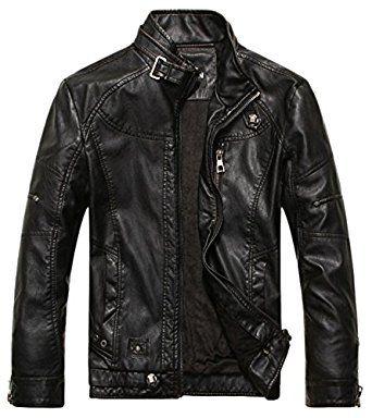 Chouyatou Men S Vintage Stand Collar Pu Leather Jacket At Amazon