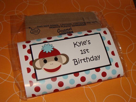 Sock monkey themed popcorn birthday party favors or baby shower party favors 1st 2nd 3rd 4th 5th - Monkey baby shower favors ideas ...
