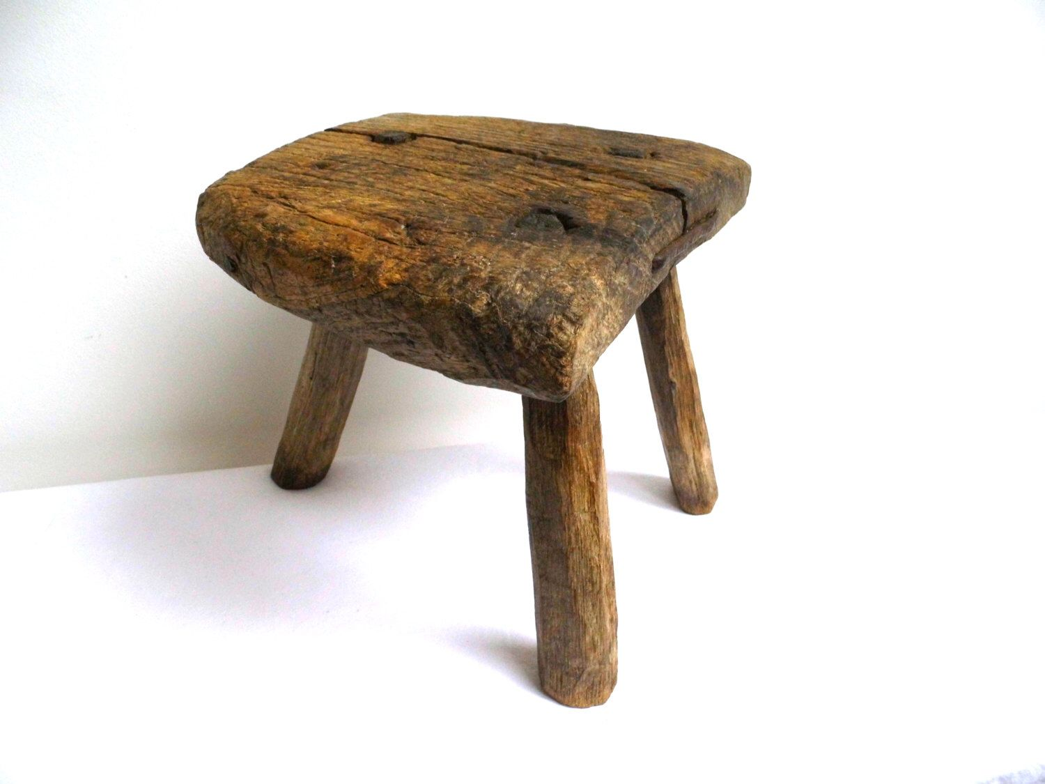 Milking Bench Part - 25: OOAK Antique Walnut Farmhouse Milking Stool Rustic Primitive Foot Three  Legged Vintage Wooden Handmade Small Bench