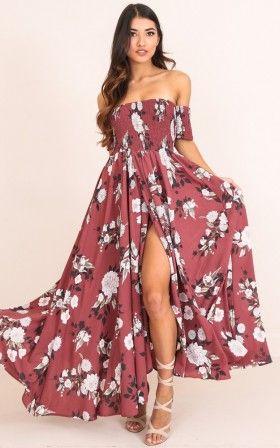 Classy Sassy maxi dress in dark rose floral  6e3b55a5370c