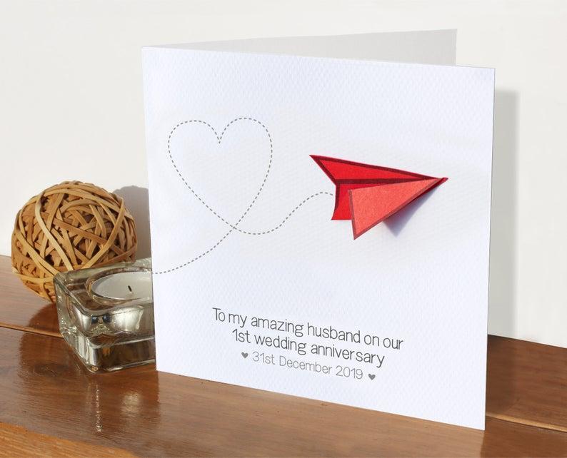 1st Wedding Anniversary Card Paper Aeroplane Married One Etsy Wedding Anniversary Cards Anniversary Cards Handmade 1st Wedding Anniversary