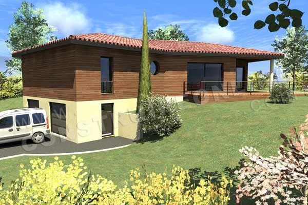 Plan maison en v sur sous sol for Maison avec garage sous sol