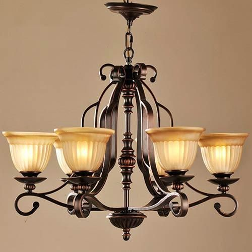 Lnc 6 Light Traditional Chandeliers Oil Rubbed Bronze Glass Shade Fixtures