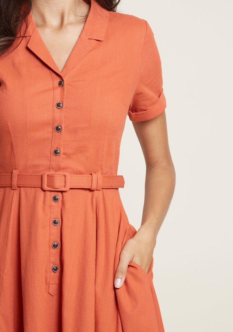 4c50d5beea Collectif x MC Cherished Era Shirt Dress in Orange