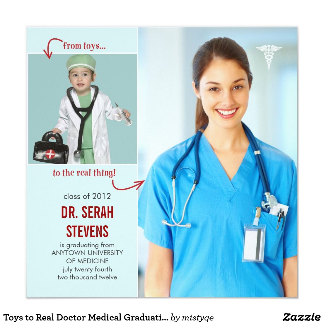 Toys to Real Doctor Medical Graduation Invitation Zazzle