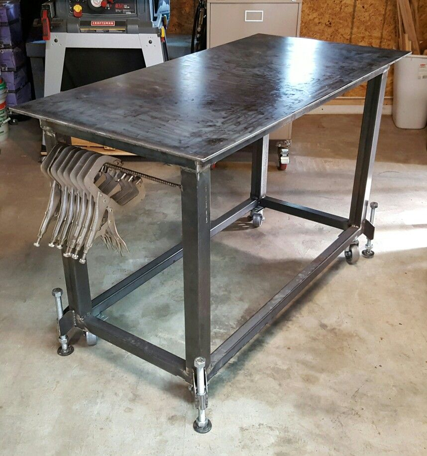 Welding table with leveling feet metal table welding