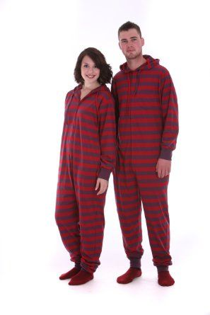 d4aff8aead95 Amazon.com  Funzee Adult Striped Onesie Non Footed Pajamas Loungewear or  Sleepwear for Men and Women Retro Style XS-XXL  Clothing