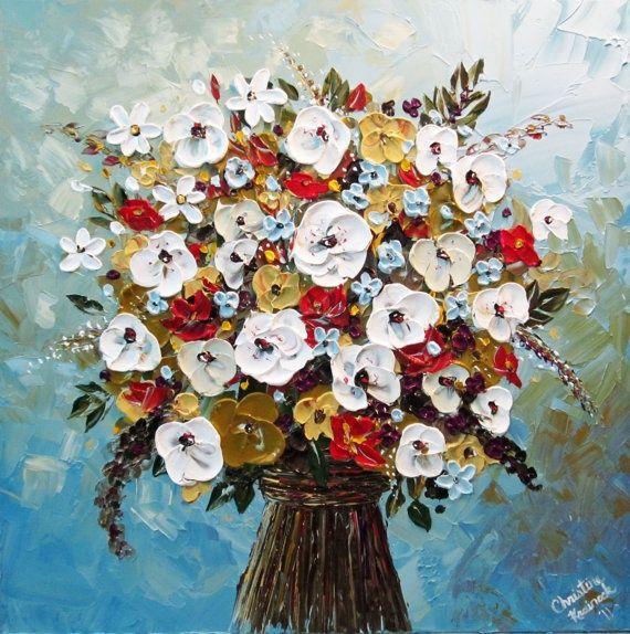 custom palette knife paintings. Preserve wedding flowers as art ...